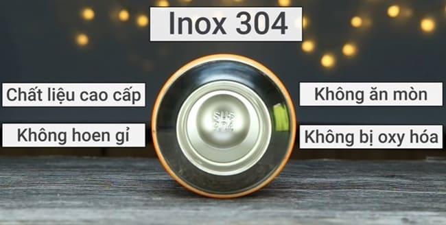 Chất liệu bình giữ nhiệt thường là inox 304