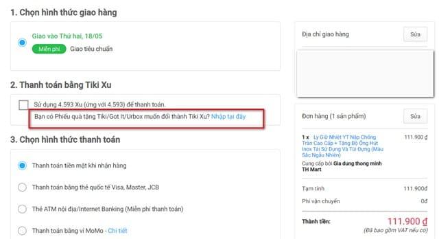 """chọn đổi phiếu quà tặng Tiki/Got It/Urbox thành Tiki Xu ở bước """"Thanh toán và đặt mua"""""""