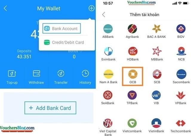 Các bước liên kết ngân hàng OCB với ví airpay