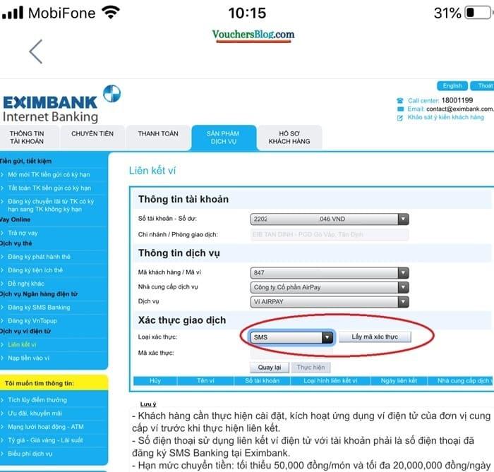Các bước liên kết ngân hàng Eximbank với airpay