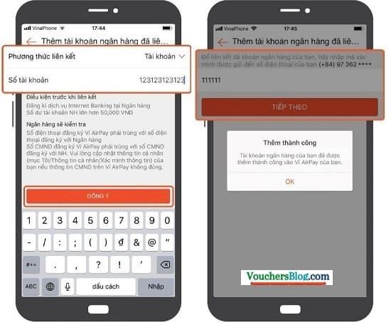 Các bước liên kết tài khoản ngân hàng với ví AirPay trên ứng dụng Shopee