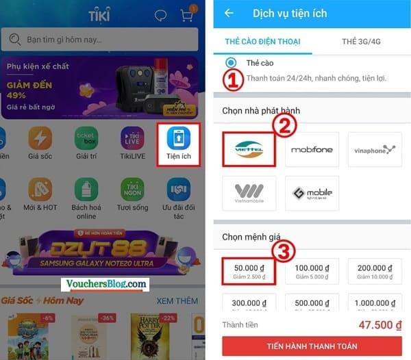 Các bước mua mã thẻ cào tại tiki trên ứng dụng tiki