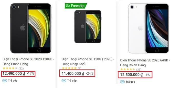 So sánh giá tiền của sản phẩm
