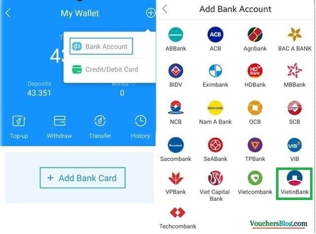 Các bước liên kết vietinbank với ví điện tử Airpay