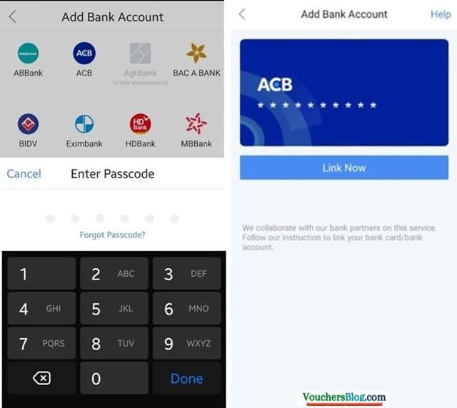 Các bước liên kết ví airpay với ngân hàng Á Châu ACB