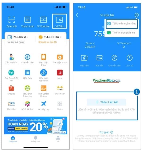 Các bước liên kết thẻ/ tài khoản ngân hàng với ví airpay
