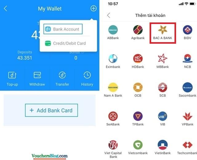 Cách liên kết ngân hàng Bắc Á Bank với ví airpay