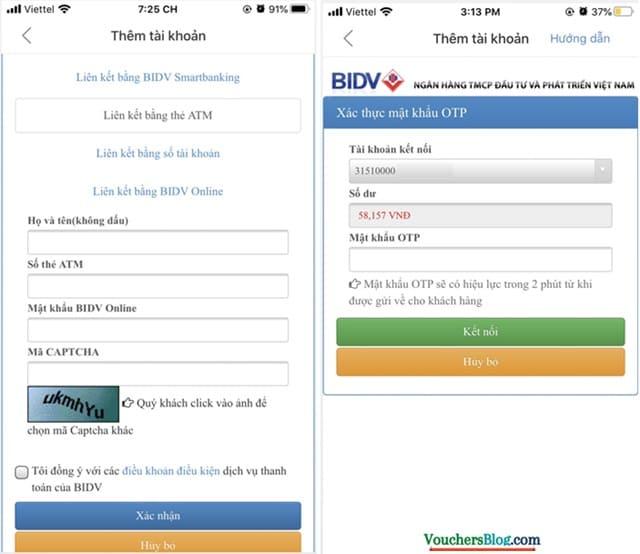Các bước liên kết ví airpay với ngân hàng BIDV