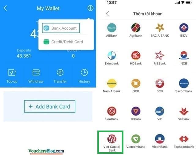 Các bước liên kết ví Airpay với VietCapital Bank