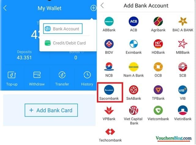 Hướng dẫn từng bước cách liên kết Ví airpay với ngân hàng Sacombank