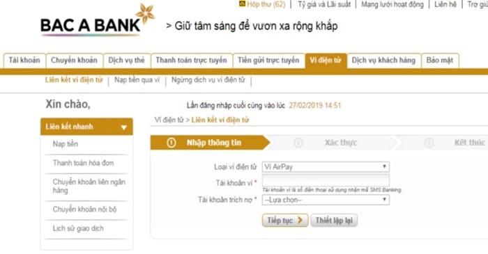 Hướng dẫn liên kết ví airpay trên Internet Banking bắc á bank