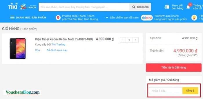 Nhập mã voucher giảm giá Tiki (nếu có)