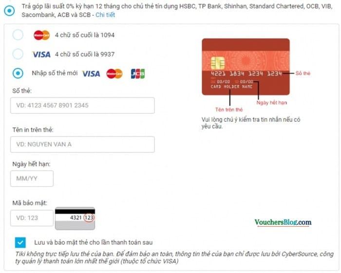 Xác nhận Thanh toán qua thẻ tín dụng