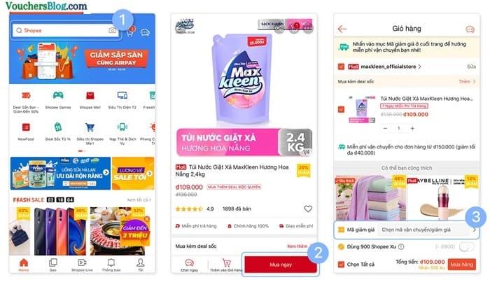 Các bước Thanh toán đơn hàng Shopee bằng Ví AirPay (trên app Shopee)