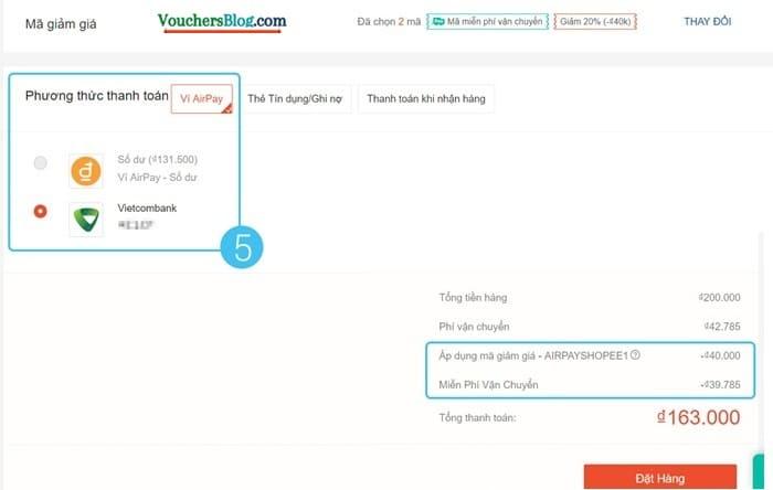 Cách thanh toán đơnCác bước thanh toán đơn hàng Shopee bằng Ví AirPay (trên website)hàng trên Shopee với ví AirPay