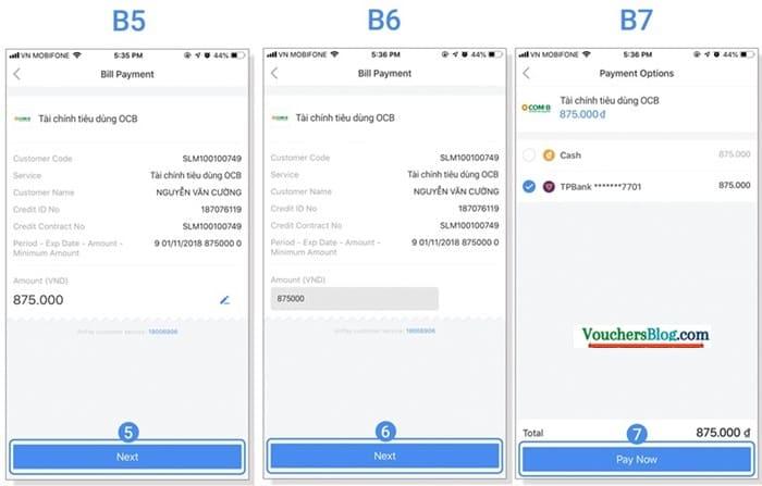 Các bước thanh toán hóa đơn tài chính qua Ví AirPay