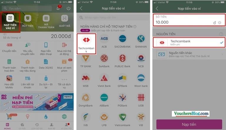 Nạp tiền miễn phí từ Thẻ ATM nội địa thuộc hệ thống Napas