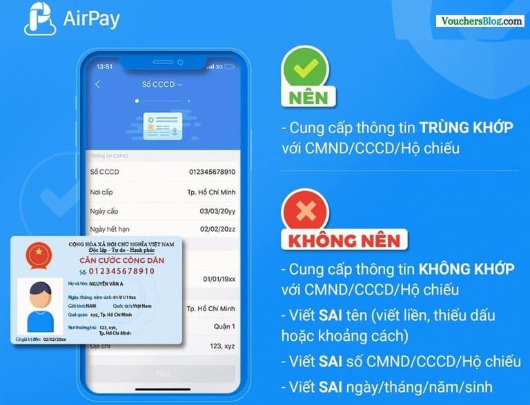Cách điền thông tin khi xác minh ví điện tử airpay