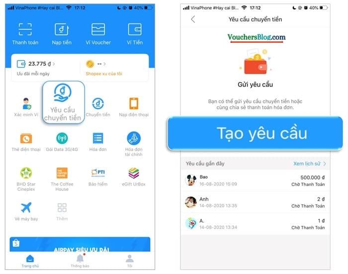 Hướng dẫn các bước gửi yêu cầu chuyển tiền trên ví AirPay