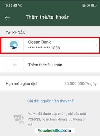 Hướng dẫn cách hủy liên kết Ngân hàng OceanBank và momo