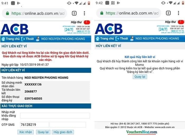 Hướng dẫn cách hủy liên kết tài khoản ACB và momo