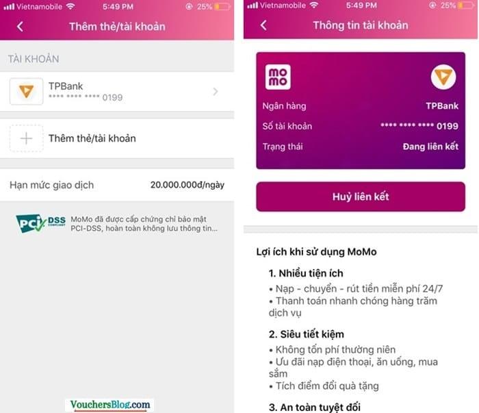 Hướng dẫn cách hủy liên kết tài khoản TPBank và momo