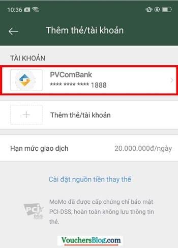 Hướng dẫn cách hủy liên kết tài khoản PVcomBank và momo