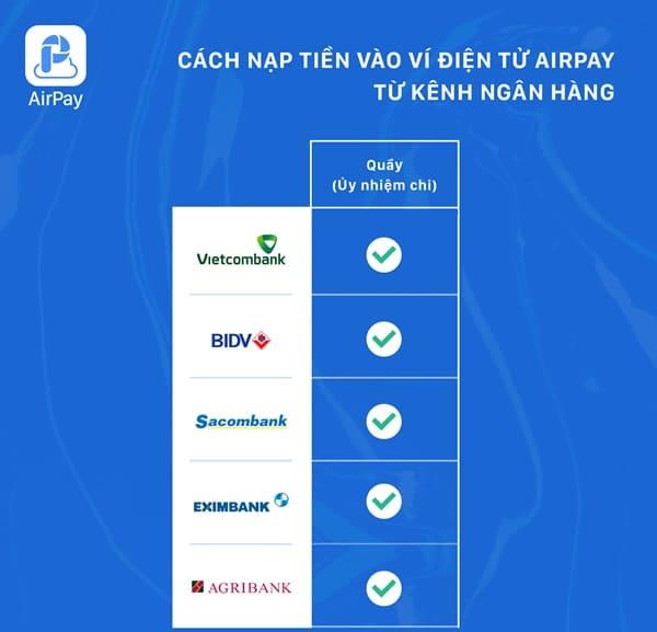 Cách thức nạp tiền vào Ví điện tử AirPay từ kênh ngân hàng tại Quầy