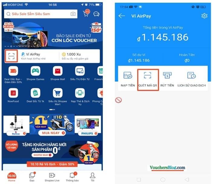 Hướng dẫn quét mã QR thanh toán airpay trên ứng dụng Shopee