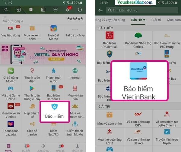Các bước Thanh toán VBI bằng Ví MoMo