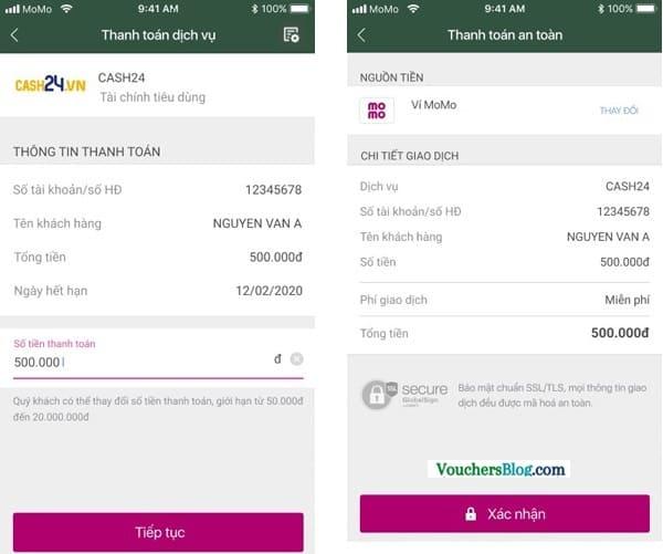 Các bước thanh toán khoản vay tiêu dùng Cash24 bằng Ví MoMo