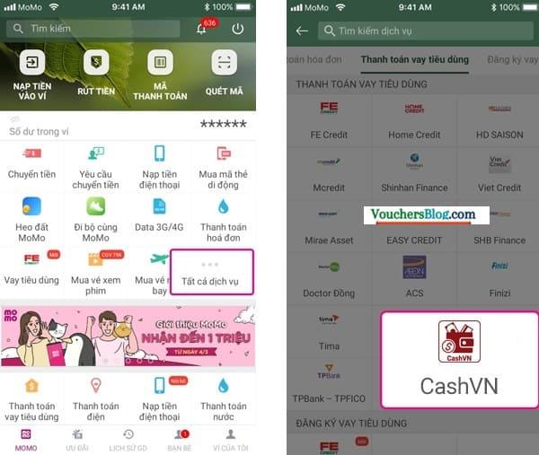 Các bước Thanh toán khoản vay tiêu dùng CashVN bằng Ví MoMo
