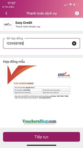 Bước 2: Chọn dịch vụ Thanh toán khoản vay Easy Credit