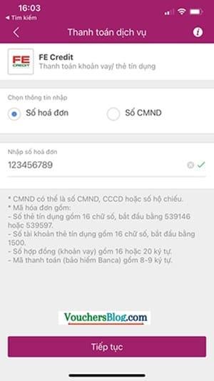 Các bước Thanh toán FE Credit bằng Ví MoMo