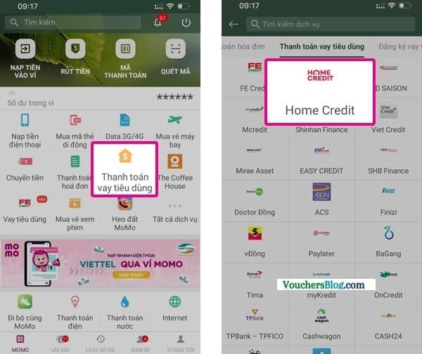 Các bước thanh toán Home Credit bằng Ví MoMo