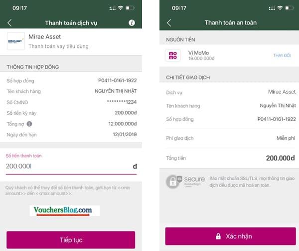 Các bước Thanh toán Mirae Asset Finance Việt Nam bằng Ví MoMo