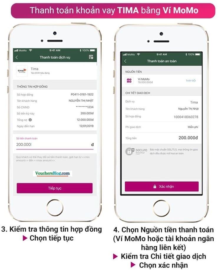 Các bước Thanh toán khoản vay tiêu dùng Tima bằng Ví MoMo