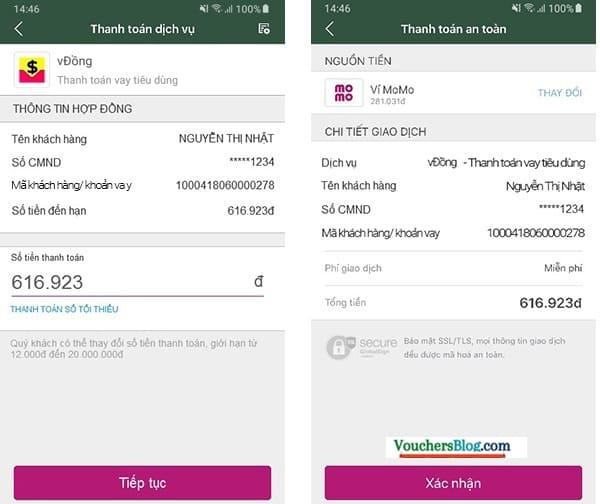 Cách Thanh toán khoản vay tại vĐồng bằng Ví MoMo
