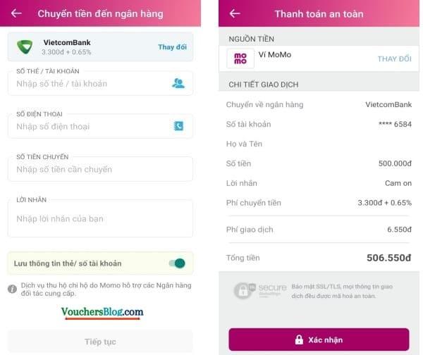 Các bước chuyển tiền đến ngân hàng nội địa bằng ví điện tử momo