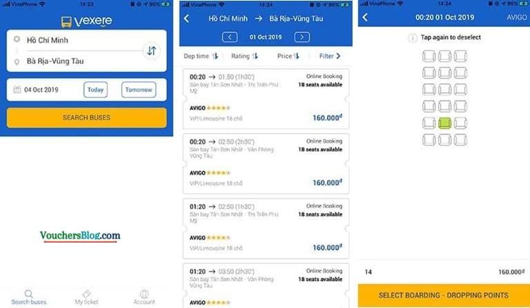 Mua vé xe rẻ Trên ứng dụng VEXERE thanh toán bằng momo