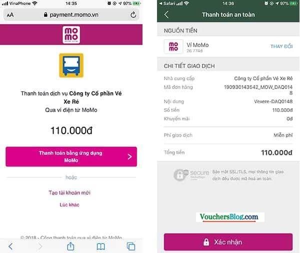 Mua vé xe rẻ Trên Website VEXERE thanh toán bằng momo