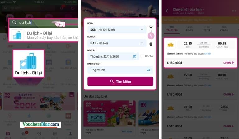 Hướng dẫn các bước đặt mua vé bay Vietnam Airlines trên Ví MoMo