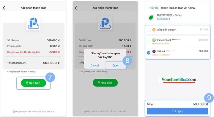 Hướng dẫn thanh toán Finhay bằng Ví AirPay trên app