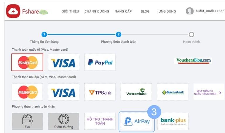 Hướng dẫn các bước thanh toán Fshare bằng Ví AirPay
