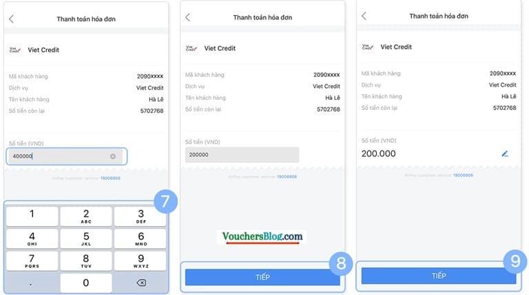 Hướng dẫn thanh toán dịch vụ tài chính VietCredit qua Ví AirPay