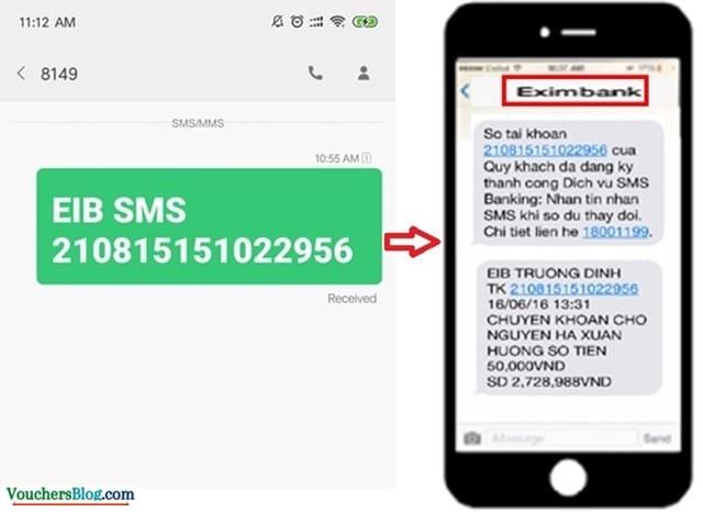 Soạn tin nhắn để đăng kí sms banking Eximbank