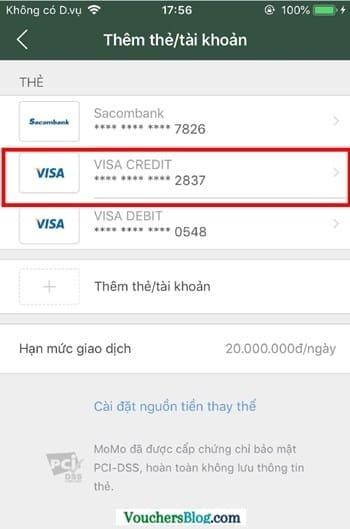 Cách hủy liên kết thẻ Visa/MasterCard/JCB và momo