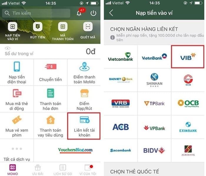 Các bước Liên kết tài khoản ngân hàng VIB Với ví Momo