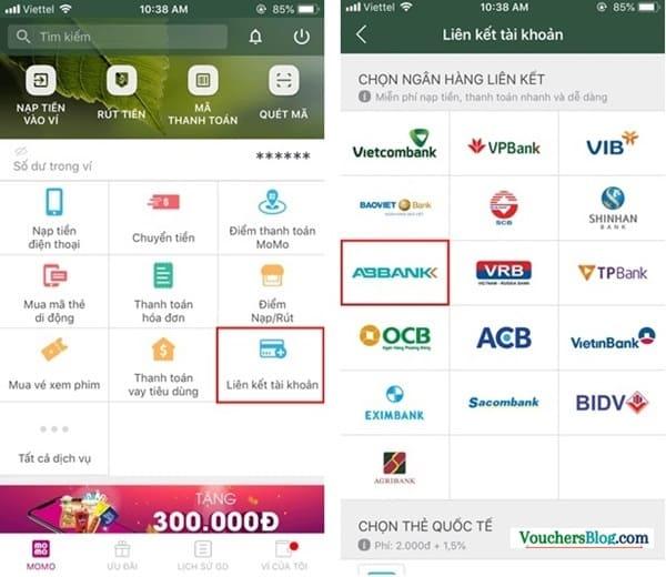 Các bước liên kết tài khoản ngân hàng ABBANK với Ví MoMo