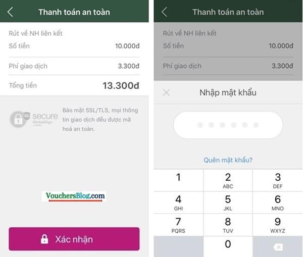 Rút tiền khỏi ví về Bảo Việt Bank